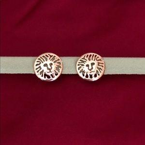 Anne Klein logo clip-on earrings- gold color